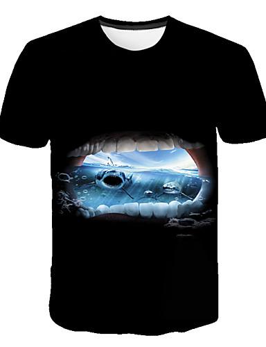 Erkek Tişört Desen, Zıt Renkli / 3D / Hayvan Sokak Şıklığı / Abartılı Siyah