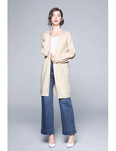 abordables Hauts pour Femmes-Femme Couleur Pleine Manches Longues Cardigan, Col Arrondi Automne / Hiver Bleu / Beige Taille unique