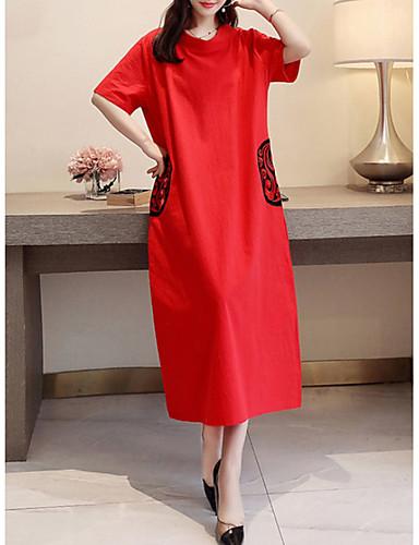Kadın's Temel Kombinezon Elbise - Geometrik Midi
