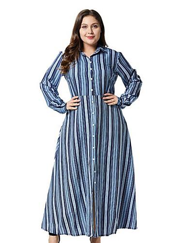voordelige Grote maten jurken-Dames A-lijn Jurk - Gestreept Maxi
