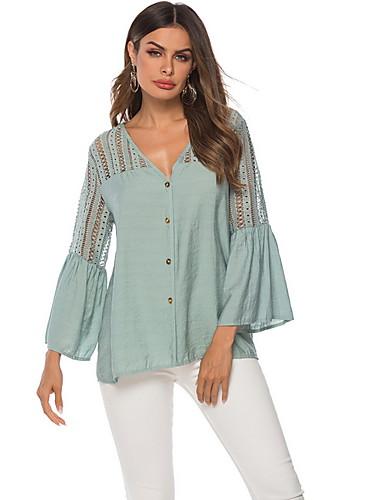 billige Dametopper-Skjorte Dame - Ensfarget Grønn