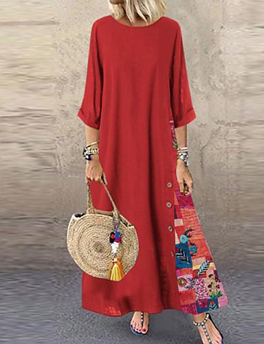 abordables Robes Femme-Femme Basique Maxi Courte Robe Géométrique Bleu Rouge Vert L XL XXL Manches 3/4