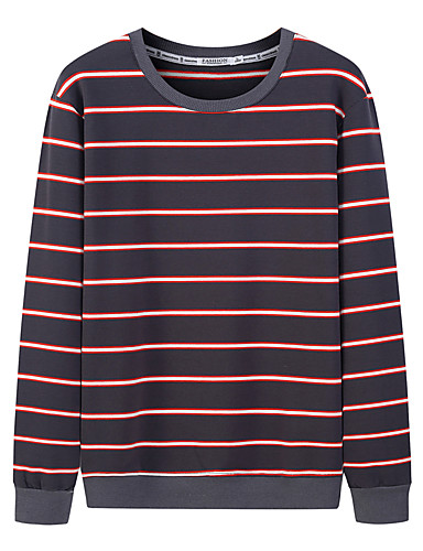 voordelige Heren T-shirts & tanktops-Heren Standaard / Street chic Print T-shirt Gestreept Zwart & Wit Geel