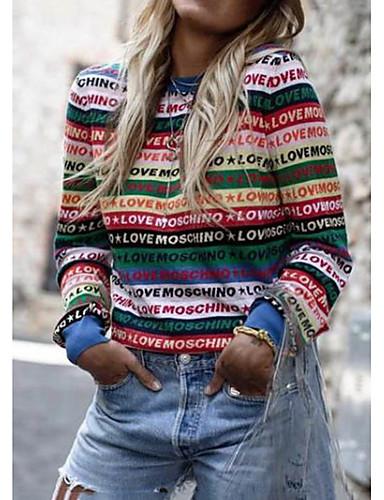 billige Dametopper-Dame Stripet / Bokstaver Langermet Pullover, Rund hals Regnbue M / L / XL