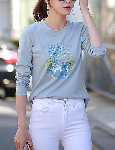 abordables Hauts pour Femme-Tee-shirt Femme, Animal Imprimé Chic de Rue Bleu clair
