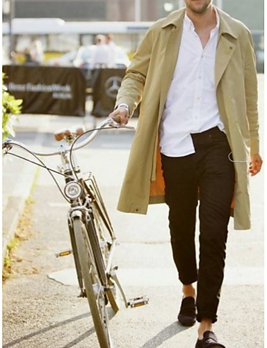 cheap 8/16-Men's Daily Spring &  Fall Long Jacket, Solid Colored Notch Lapel Long Sleeve Polyester Beige US36 / UK36 / EU44 / US38 / UK38 / EU46 / US40 / UK40 / EU48