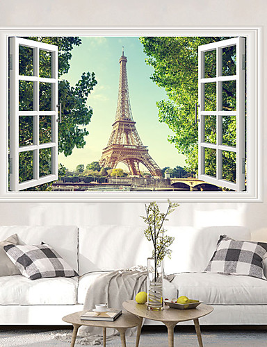 cheap Room-Eiffel Tower Wall Stickers - Animal Wall Stickers Animals / Landscape Study Room / Office / Dining Room / Kitchen