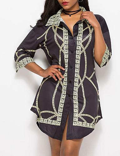 billige Dametopper-Skjorte Dame - Geometrisk Vintage Svart