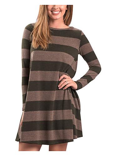 abordables Robes Femme-Femme Au dessus du genou Tee Shirt Robe Rayé Vin Vert Véronèse S M L Manches Longues