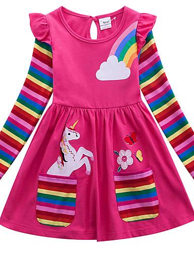 povoljno Rasprodaja kolekcija dječje odjeće-Djeca Djevojčice Aktivan Geometrijski oblici Životinja Print Dugih rukava Iznad koljena Haljina Fuksija