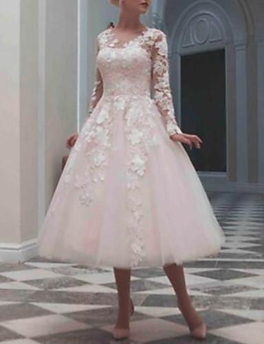 abordables Robes de Mariée 2019-Robe de Soirée Bijoux Longueur Genou Dentelle / Tulle Robes de mariée sur mesure avec Billes / Appliques par LAN TING Express
