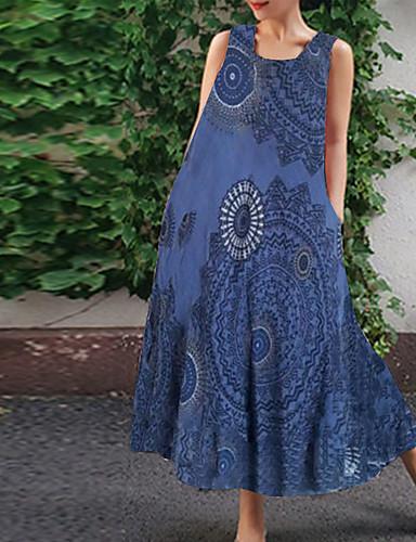 Kadın's Çan Elbise - Geometrik Midi