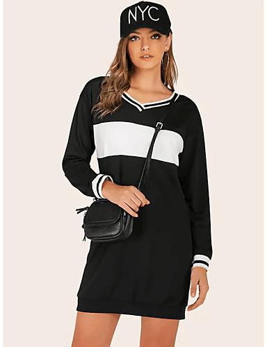 Kadın's Sokak Şıklığı Kombinezon Elbise - Zıt Renkli, Kırk Yama Diz üstü Siyah ve Beyaz
