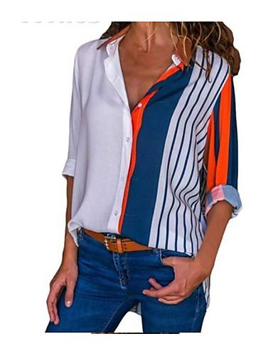 billige Topper til damer-Skjortekrage Bluse Dame - Ensfarget Hvit