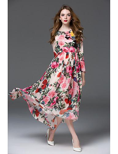 billige Kjoler-Dame Grunnleggende Elegant Skjede Chiffon Swing Kjole - Blomstret, Trykt mønster Maksi Rose