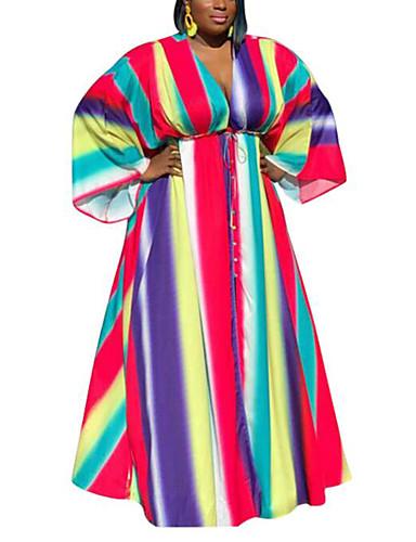 voordelige Grote maten jurken-Dames Boho Street chic Recht Wijd uitlopend Jurk - Gestreept Regenboog Maxi