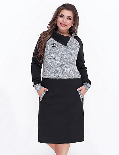 voordelige Grote maten jurken-Dames Standaard Recht Jurk - Kleurenblok Tot de knie