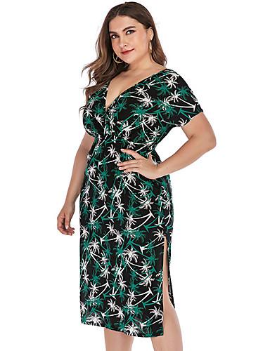 voordelige Grote maten jurken-Dames Standaard Boho Recht Jurk - Bloemen, Blote rug Split Print Tot de knie