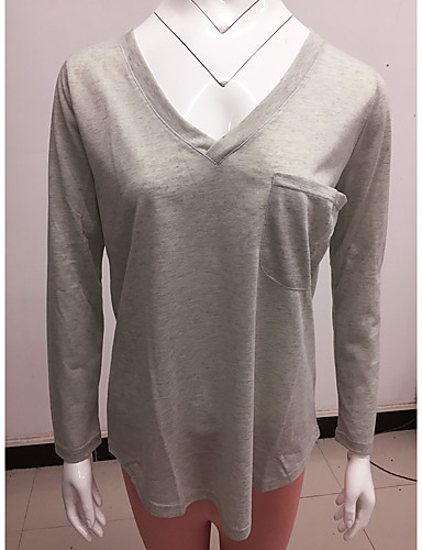 billige Dametopper-T-skjorte Dame - Ensfarget, Lapper Gatemote Svart / Hvit / Blå Svart