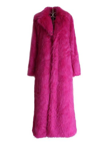 billige Ytterklær til damer-Dame Daglig / Ut på byen Høst vinter Maxi Faux Fur Coat, Ensfarget Rullekrage Langermet Fuskepels Svart / Hvit / Fuksia S / M / L