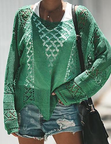 Kadın's Solid Uzun Kollu Kazak, Yuvarlak Yaka Sonbahar / Kış Siyah / Yonca S / M / L