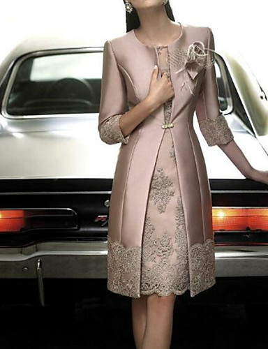 abordables Robes Femme-Femme Mi-long Mince Gaine Deux Pièces Robe Fleur Rose Claire S M L Satin Manches 3/4