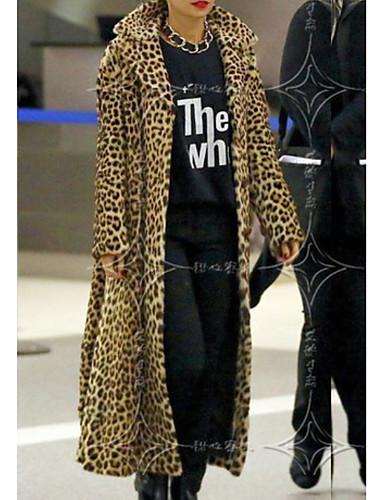 billige Ytterklær til damer-Dame Daglig Høst vinter Lang Faux Fur Coat, Leopard Peter Pan-krage Langermet Polyester Brun