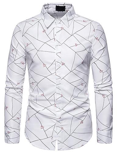 Erkek Gömlek Desen, Geometrik Temel Beyaz Beyaz