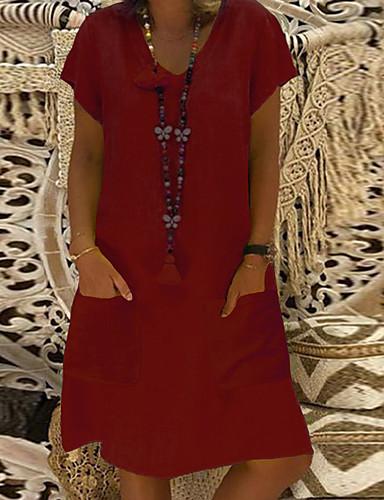abordables Robes Femme-Femme Basique Au dessus du genou Courte Robe Couleur Pleine Noir Vin Bleu clair S M L Manches Courtes