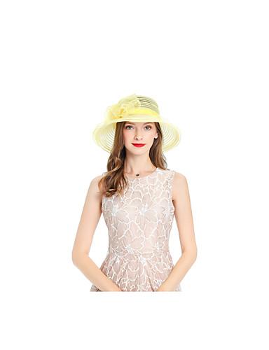 billige Tilbehør til damer-Dame søt stil Solhatt Ensfarget Netting Gul