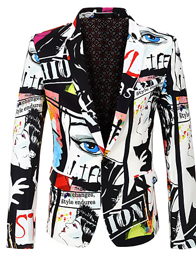 cheap Happy Halloween-Men's Party / Holiday / Bachelor's Party Regular 3D / Abstract Notch Lapel Full Body Polyester Print White