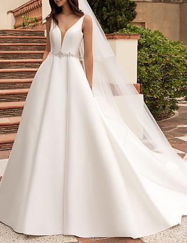 billige Bryllupskjoler 2019-A-linje V-hals Hoffslep Sateng Made-To-Measure Brudekjoler med Perlearbeid av LAN TING Express