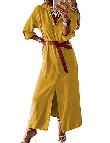 voordelige Maxi-jurken-Dames Elegant Overhemd Jurk - Effen Maxi