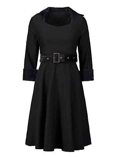 abordables Robes Femme-Femme Rétro Vintage Elégant Mi-long Trapèze Robe Couleur Pleine Noir S M L Manches 3/4