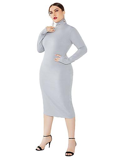 voordelige Grote maten jurken-Dames Standaard Street chic Bodycon Schede Breigoed Jurk - Effen Midi