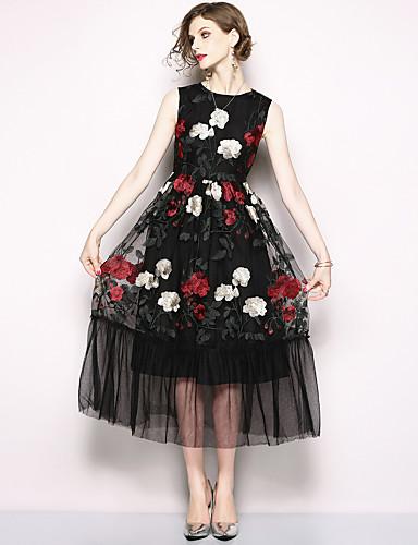 voordelige Maxi-jurken-Dames A-lijn Jurk - Bloemen, Netstof Patchwork Geborduurd Maxi