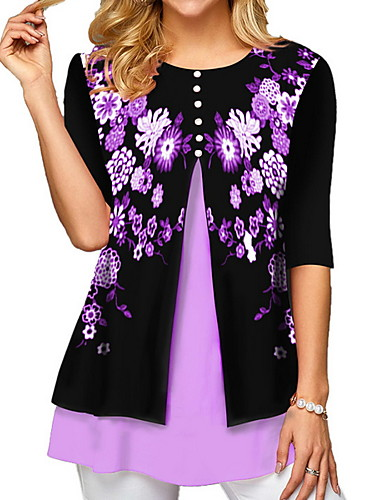 billige Topper til damer-T-skjorte Dame - Blomstret, Trykt mønster Lilla
