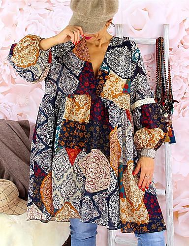 billige Kjoler-Dame Swing Kjole - Geometrisk Ovenfor knéet