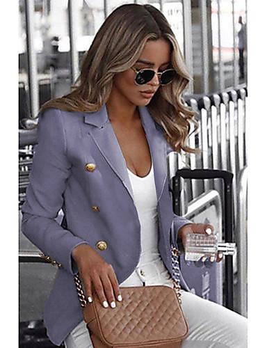 preiswerte Damen Überbekleidung-Damen Alltag Standard Blazer, Solide Hemdkragen Langarm Polyester Beige / Grau / Khaki