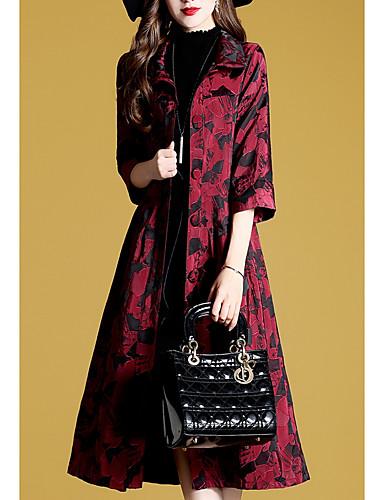 billige Ytterklær til damer-Dame Daglig Lang Trenchcoat, Geometrisk Skjortekrage Halvlange ermer Polyester Vin