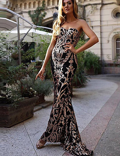 voordelige Maxi-jurken-Dames Bodycon Jurk - Geometrisch Strapless Maxi