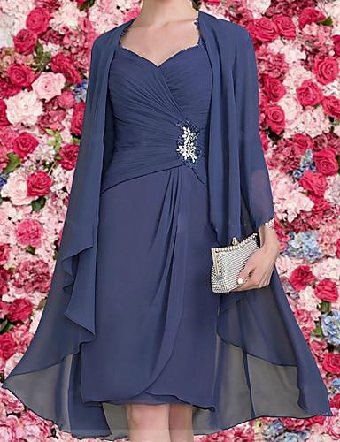 abordables Robes Femme-Femme Elégant Mi-long Deux Pièces Robe Couleur Pleine Bleu Marine M L XL Manches Longues