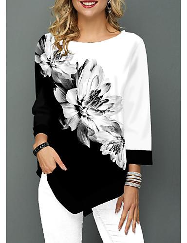 billige Topper til damer-Bluse Dame - Blomstret Grunnleggende Hvit