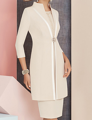 voordelige Wrap Dresses-Strak / kolom Met sieraad Tot de knie Satijn Bruidsmoederjurken met Kralen / Kristaldetails door LAN TING Express / Wrap inbegrepen