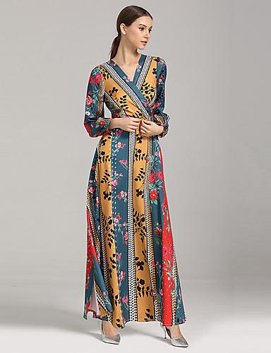 voordelige Maxi-jurken-Dames Standaard Boho A-lijn Kaftan Jurk - Bloemen, Print Maxi