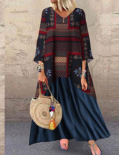 voordelige Maxi-jurken-Dames Vintage Wijd uitlopend Jurk - Geometrisch, Patchwork Maxi