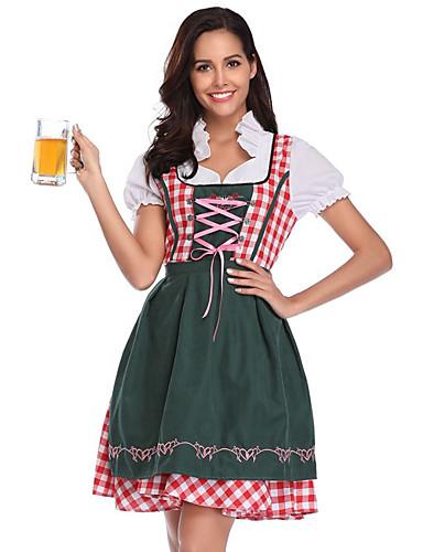 billige Halloween- og karnevalkostymer-Oktoberfest Kostume Dirndl Trachtenkleider Dame Topp Kjole Forkle bayerske Kostume