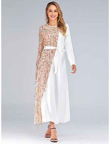 voordelige Maxi-jurken-Dames Standaard Elegant Recht Jurk - Kleurenblok, Patchwork Maxi
