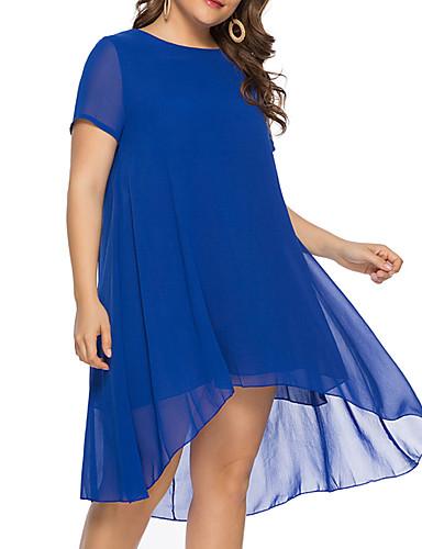 voordelige Grote maten jurken-Dames Boho Wijd uitlopend Jurk - Effen Asymmetrisch