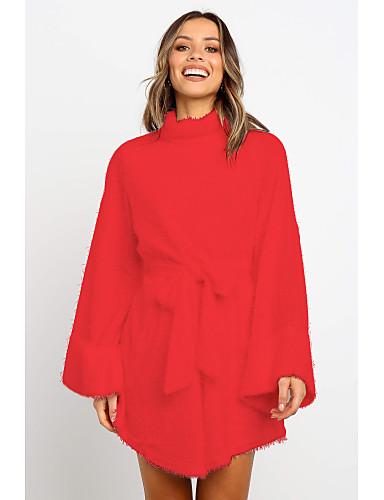 povoljno Ženske majice-Žene Jednobojni Dugih rukava Pullover, Uski okrugli izrez Zima Crn / Obala / Blushing Pink S / M / L